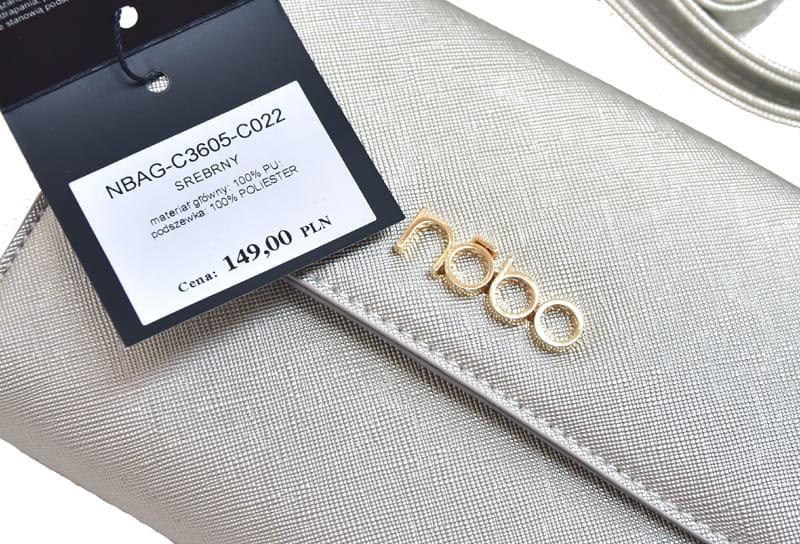 ba99bed5ae87c Torebki damskie NOBO mała torebka wizytowa listonoszka C3605 srebrna ...