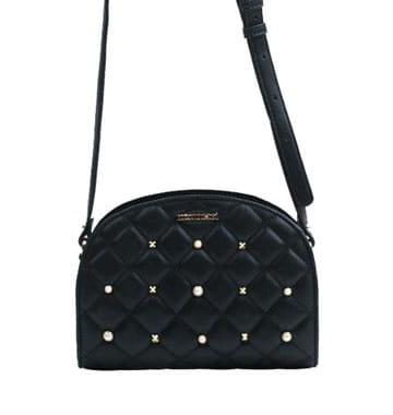 0b556820a0c56 Monnari Torebka damska listonoszka pikowana chanelka BAG A830 czarna z  perełkami