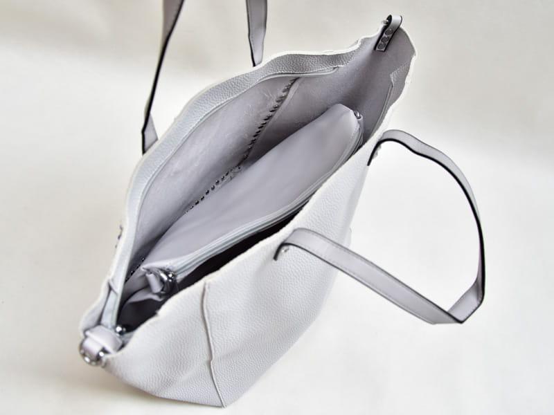 BLUMARI duża torebka torba z ćwiekami 2w1 Y6057 shopper szara + kolorowy pasek